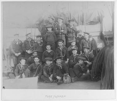 USNA Sailors with Goat, USS Galena, 1880-92